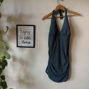 Anne Cole 1 piece bathing suit Haulter retro Blue